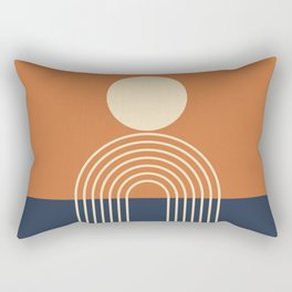 Geometric Lines in Terracotta Navy Blue (Sun and Rainbow abstraction) Rectangular Pillow