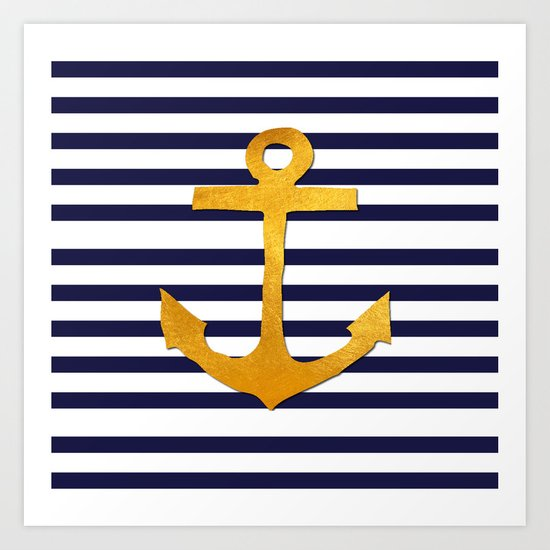 Marine pattern- blue white striped with golden anchor Art Print