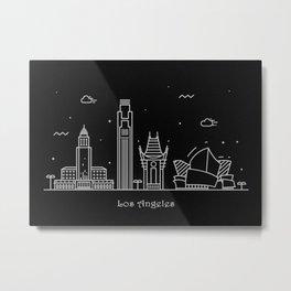 Los Angeles Minimal Nightscape / Skyline Drawing Metal Print
