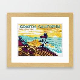 Coastal California vintage poster design watercolor painted on canvas Framed Art Print