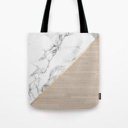 Modern white marble gold stripe wood color block Tote Bag