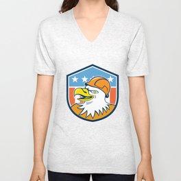 Bald Eagle Construction Worker Head Flag Cartoon Unisex V-Neck