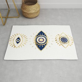 evil eye times 3 navy on white Rug