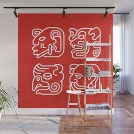 Mayan Glyphs ~ Heads Wall Mural