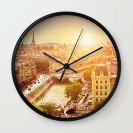 Paris with Eiffel Tower, France Wall Clock