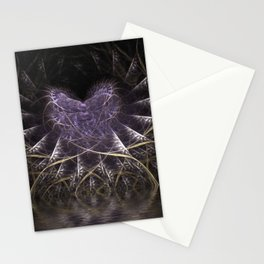 Purple Love Web Fractals Stationery Cards
