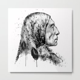 Native American Side Face Black and White Metal Print