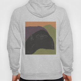Abstract Bat - Black and Green, Abstract Landscape, Animal Illustration Hoody