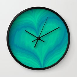 Abstract Blue Green Heart Wave Pattern | Valentine's Day Wall Clock