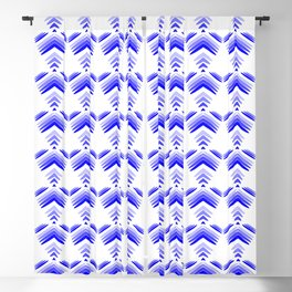 Pastel pattern of blue hearts and flowers on a white background. Blackout Curtain