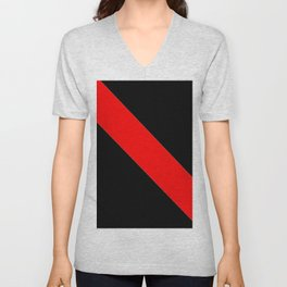 Oblique red and black Unisex V-Neck