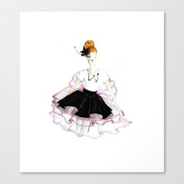 Rose, Noir & Blanc Canvas Print