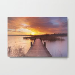 I - Boardwalk over water at sunrise, near Amsterdam The Netherlands Metal Print