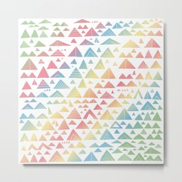 mountains, low hills, tents, trees rainbow Metal Print