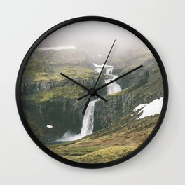 not a bad spot to pitch a tent (portrait) Wall Clock