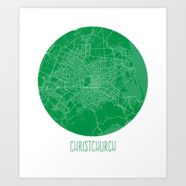 Christchurch. Green. Art Print