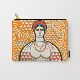cccp sssr rusian art lady on the market with fruit basket Carry-All Pouch