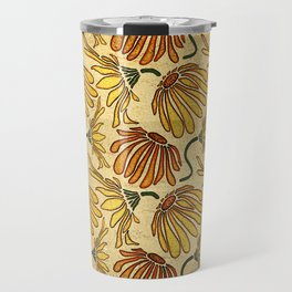 Retro 70's Golden Yellow Daisy Pattern  Travel Mug