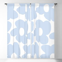 Large Baby Blue Retro Flowers White Background #decor #society6 #buyart Blackout Curtain