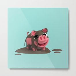 Rosa the Pig loves Mud Metal Print