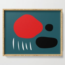 Minimal Red Black Abstract Art Serving Tray