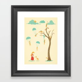 Invasion of the Tiny Giraffes Framed Art Print