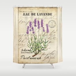 Lavender Antique Rustic Flowers Vintage Art Shower Curtain