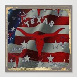 Texas Red & White Americana Longhorn Logo Pattern Art Canvas Print