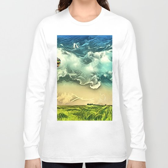 Air Balloon in the Sky with Clouds over the Landscape Long Sleeve T-shirt