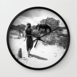 The Girl with the Wild Horses - Corolla, NC - Black and White Film Photograph Wall Clock
