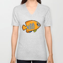 8-Bit Clarion Angelfish Pixel Art Tropical Fish Unisex V-Neck