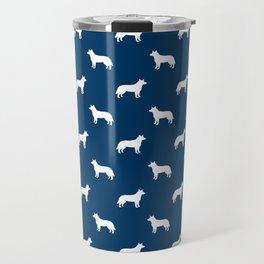Australian Cattle Dog silhouette pattern portrait dog pattern navy and white Travel Mug