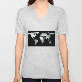 World Map Silhouette - Penguins Unisex V-Neck