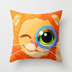 cartoon lovely lion sitting and looking through loupe Throw Pillow