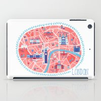 london map iPad Cases featuring London Map by Emily Golden