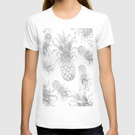 grayscale pineapple pattern, vintage tropical desing T-shirt