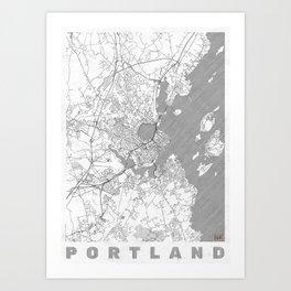 Portland Maine Map Line Art Print