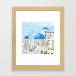 Greece Pillow Framed Art Print