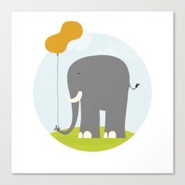 An Elephant With a Peanut Balloon Canvas Print