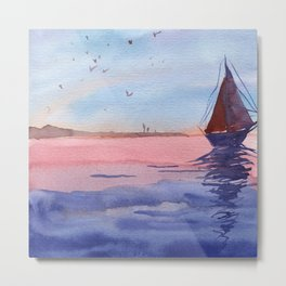 Sailboat in the sea Metal Print