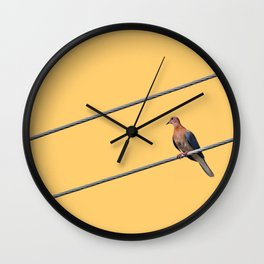 Pigeon On A Wire Wall Clock