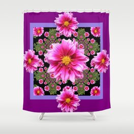Pink Dahlia Flowers on Black-green Geometric Shower Curtain
