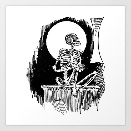 Skeleton waiting Art Print