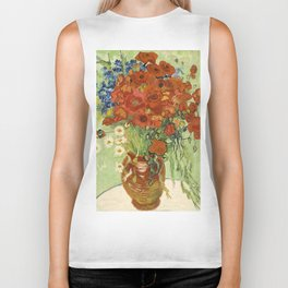 """Vincent van Gogh """"Still Life, Vase with Daisies, and Poppies"""" Biker Tank"""