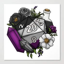 Pride Asexual D20 Tabletop RPG Gaming Dice Canvas Print