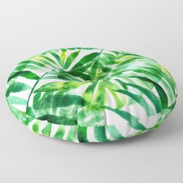 Monstera and palm watercolor Floor Pillow