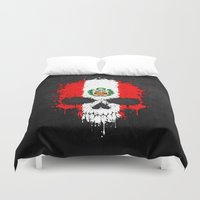 peru Duvet Covers featuring Flag of Peru on a Chaotic Splatter Skull by Jeff Bartels