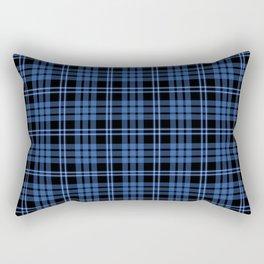 Blue & White Scottish Tartan Plaid Pattern Rectangular Pillow