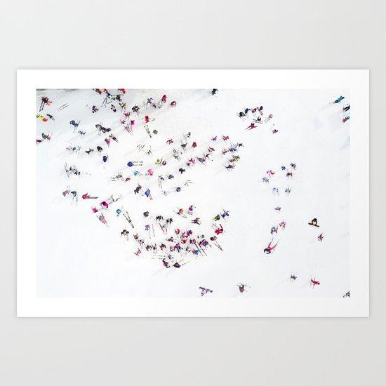 Aerial view of skiers by orbonalija