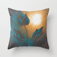 Throw Pillows featuring Morning in Blue by Danielle Harshenin